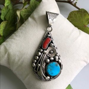 Jewelry - Sterling Silver Vintage Turquoise & Coral Pendant